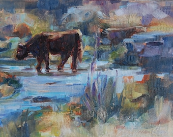 Cow Painting, Cow in Water, angus cow, Bovine art, Cow in Landscape, 5x7 original oil, Impressionistic landscape, farm painting, country
