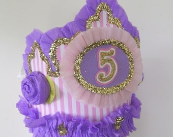 5th Birthday party crown, 5th birthday party hat,  any number or saying adult or child,  Pink and Purple birthday hat