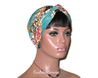 Pink and Green Turban, Gold Shimmer, Women's Turban, Handmade Turban, Fashion Turban, Twist Turban, Metallic Foil Turban, Turban Hat