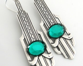 Silver Earrings - Art Deco Earrings - Emerald Earrings - May Birthstone Jewelry - Green Earrings - Vintage Earrings - handmade jewelry