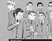 Suited Caricature Shirts (Groomsmen Gift)