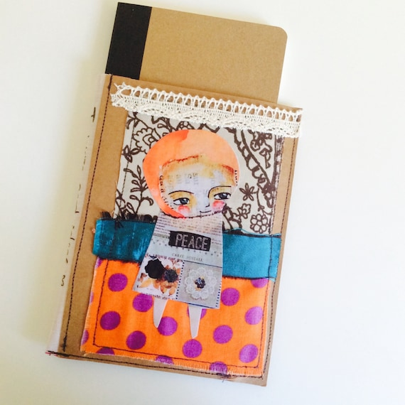 Notebook Cover Art ~ Notebook cover blank journal doll ooak fabric art orange