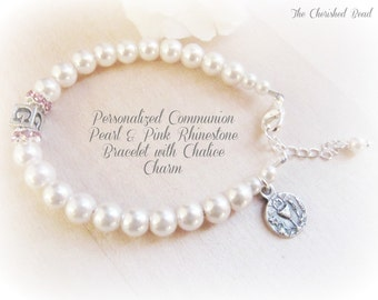 Personalized Communion Pearl and Pink Rhinestone Bracelet with Communion Chalice Charm