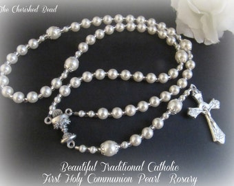 Beautiful Classic Traditional First Holy Communion Pearl Rosary