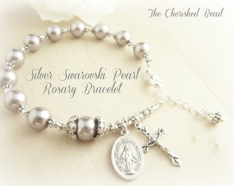 Beautiful Silver Swarovski Pearl Rosary Bracelet