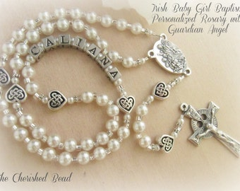 Irish Baby Pearl and Celtic Heart Personalized Guardian Angel Rosary