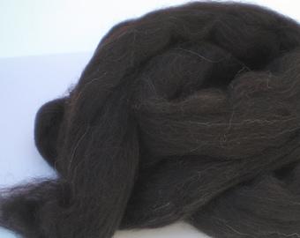 Black / Brown  Shetland Combed Top for Spinning or Felting  4 oz.