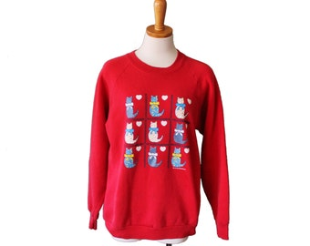 10 Dollar Sale Vintage 80s Country Cat Red Sweatshirt - Novelty - Women M