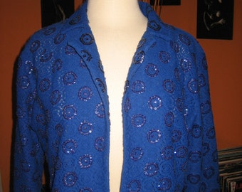 40s 50s Cobalt Blue Bolero Jacket