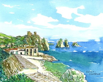 Scopello Sicily  Italy art print from an original watercolor painting