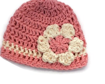 "Crochet cotton beanie ""kidlid"" in pink with daisy flower for newborn"