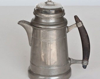 Vintage Pewter Bavarian Coffee Pot with Wood Handle