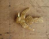 Large Art Deco yellow rhinestone bird brooch / YELLOW WARBLER