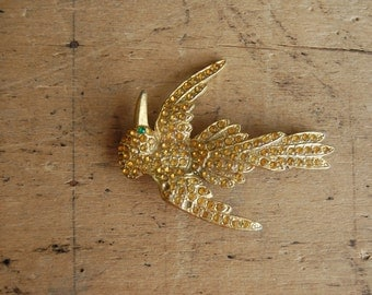 Large Art Deco yellow rhinestone bird brooch / YELLOW WARBLER