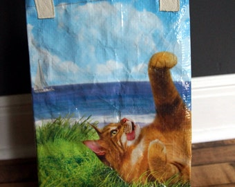LINED Upcycled Feed Sack Tote