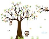 VACATION SALE-All orders ship Aug 15th!! Vinyl Wall Decal Stickers Owl Tree Set Nursery Baby Pattern Leaf Tree Vinyl Wall Art