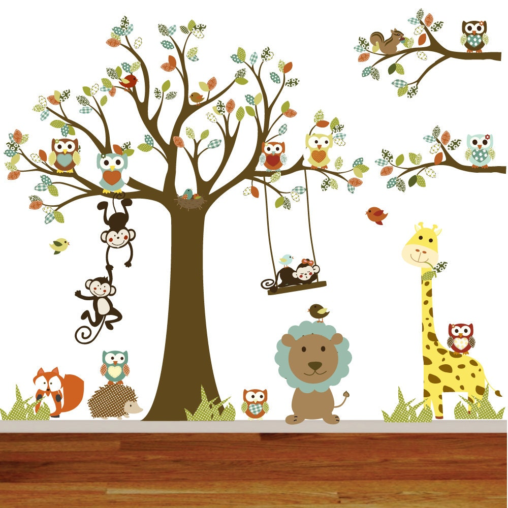 vinyl wall owl tree decal nursery wall stickers