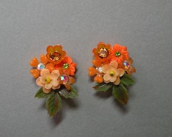 Orange Bouquet Earrings