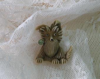 Vintage Celluloid Puppy Brooch