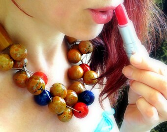 Chunky Necklace, Linen Necklace, Tagua Nut Necklace, Natural Necklace, Bombona Beads, Orange Brown Beads