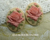 2pcs ( 30 x 40mm) Pretty Rose Oval Cameo- Dusty Pink Rose