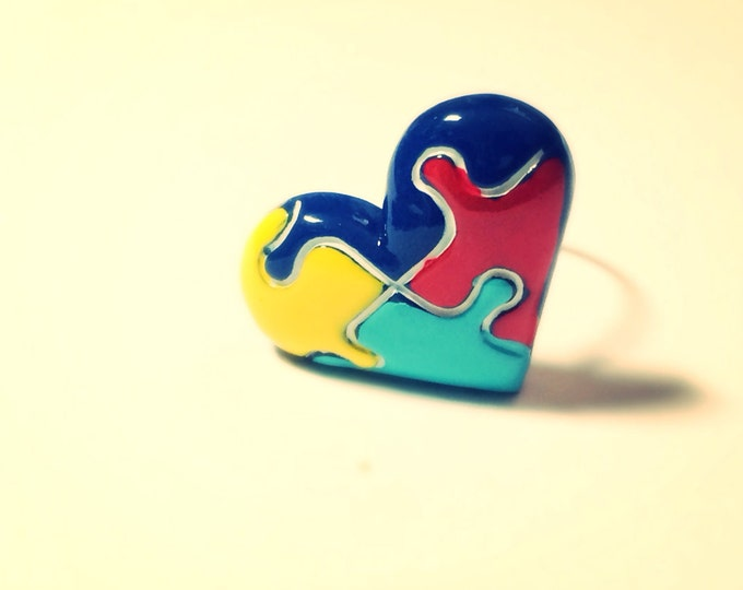 Autism Pin, Autism Awareness Puzzle Heart tie tack, lapel pin, brass, button, brooch, broche
