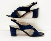1960s High Heel Sandals / Vintage 60s Navy Blue Suede Corset-Like Laced Toe Sandal Shoes / U.S. 7 – 7.5M