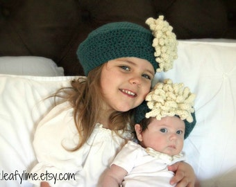 Matching Sister's Slouchy Crochet Béret with Mum Flower Clip for Infant, Toddler, or Child