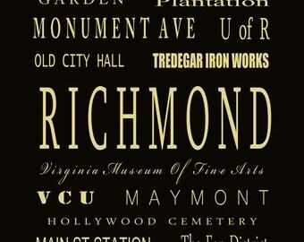 Richmond Virginia Subway Bus Tram Scroll Art - Typography Digital Art Print by Dave Lynch - Richmond Landmarks