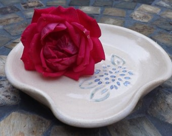 Ready to Ship: Ceramic Spoon Rest with Carved Periwinkle Dahlia