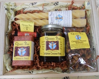 Cardamom Cinnamon Honey gift basket by Queen Bee Honey Products