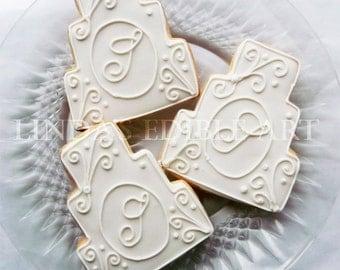 Monogrammed Wedding Cake Cookies (1 Dozen)