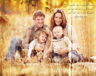 Family Portrait REAL WOOD Custom Wood Anniversary Gift Wedding Decoration or Wedding Anniversary Gift 16x20
