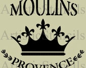STENCIL French Moulins de Provence with Royal Crown 8x7.3