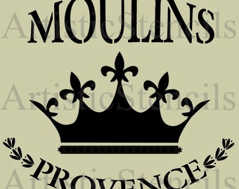 STENCIL French Moulins de Provence with Royal Crown 10x9
