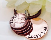 Personalized Hand stamped Lucky Dad Copper Penny Key Chain With Names and Dates