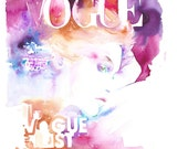 Original Watercolour Painting. Watercolor Fashion. Titled: Vogue Korea