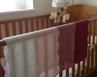 CRIB / COT/ stroller blanket . Afghan. Ombre Ripple. Crocheted .Pink . Baby Girl ...ready to ship ..UK seller.......