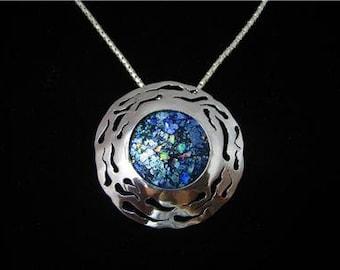 Artisan 925 Silver Roman Glass Pendant Necklace