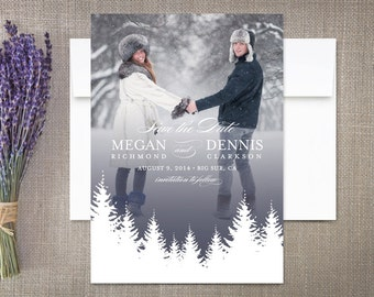 Winter Save the Date Cards Rustic