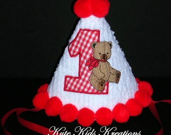 Baby's First Birthday Hat, Vintage Country Bear Applique, Ready to Ship