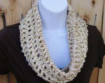 SUMMER COWL SCARF, Off White, Cream, Beige, Gray Grey, Small Short Infinity Loop, Crochet Knit Necklace, Neck Warmer..Large Size Available