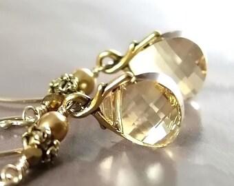 Champagne Earrings Swarovski Golden Shadow Crystal Dangle Drop Earrings  Antique Gold Vine Earrings