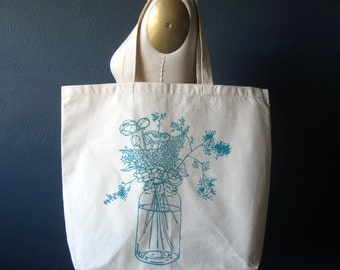 Screen Printed Recycled Cotton Tote Bag - Eco Friendly Grocery Tote - Canvas Tote Bag - Large Tote - Wildflowers Book Bag - Project Bag