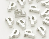 IN-211-MS / 2 Pcs - Initial Tiny Pendant, Alphabet, Lower Case, Small Letter, p, Matte Silver Plated over Brass / 5mm x 6mm