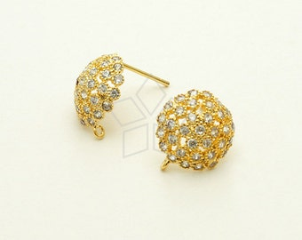 SI-579-GD / 2 Pcs - Jewelry Dome Stud Earrings, 16K Gold Plated, with .925 Sterling Silver Post / 12mm