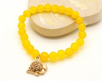 Gold Rhinestone Fish Charm Yellow Jade Bracelet - Yellow Slip-On Bracelet