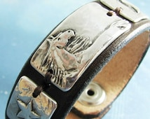Dreamer No. 2, Artisan Original Horse Jewelry by SilverWishes, Fine Silver Horse, Star, Moon Links on Leather Cuff Bracelet