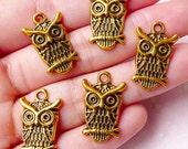 Owl Charms (5pcs) (14mm x 22mm / Antique Gold) Bird Charms Metal Findings Pendant Bracelet Earrings Bookmark Zipper Pulls Keychain CHM768