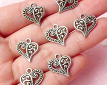 Heart Charms (7pcs) (14mm x 14mm / Tibetan Silver / 2 Sided) Metal Findings Pendant Bracelet Earrings Bookmark Zipper Pulls Keychains CHM353
